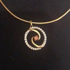 "Jewelry - Diamond circle pendant with 16"" 18k snake chain"
